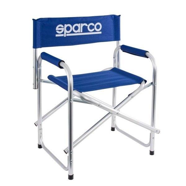 Silla plegable sparco paddock color azul y con logo - Silla alta plegable ...